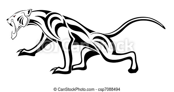 Tatuagem Tribal Leopardo Tatuagem Executado Forma Tribal