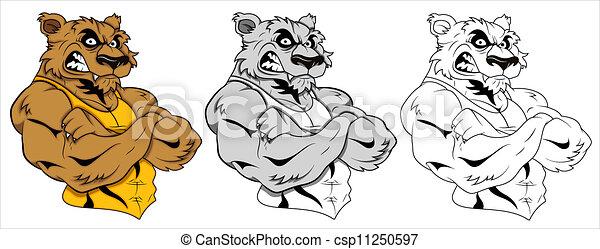 tatuagem, vetorial, lobo, mascote - csp11250597