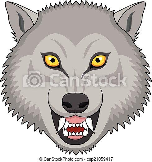 tatuaggio, arrabbiato, testa lupo - csp21059417