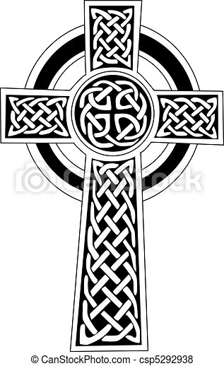 tatuaggio, celtico, arte, simbolo, -, croce, o - csp5292938