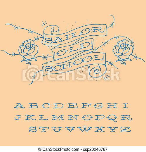 Popolare Tatuaggio, disegnato, set, old-school, alfabeto. Tatuaggio  AS68