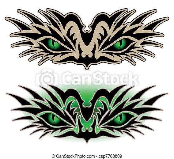 tatuaggio, occhi, rettile, tribale - csp7768809
