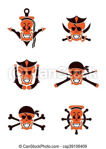 tatuaggio, set, cranio, tribale, vettore, mare - csp39106409