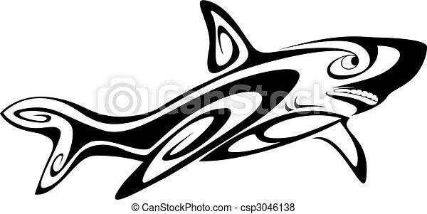 Tatuaggio squalo isolato nero disegno bianco for Disegno squalo bianco