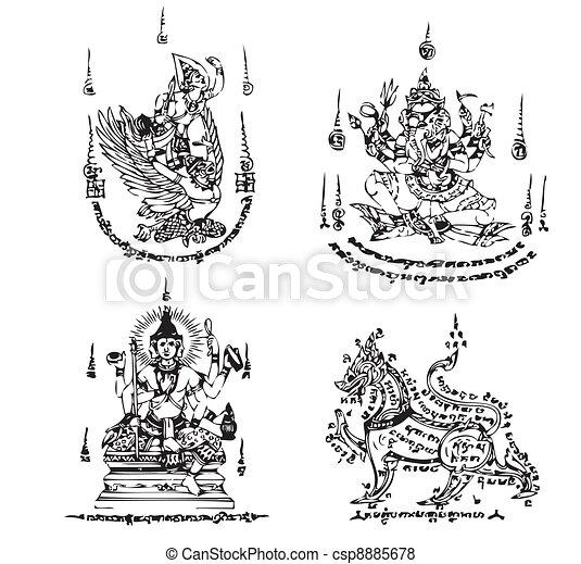 tatuaggio, tailandese, vettore, antico - csp8885678