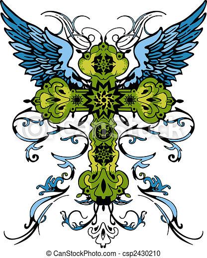 tatuaggio, tribale, croce, classico - csp2430210