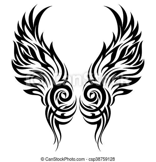 tatuaggio, tribale, fiammeggiante, ali - csp38759128