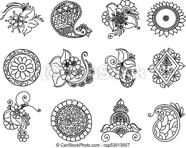 Elemento de henna de tatuaje - csp53013007