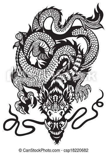 Tatuaje Blanco Negro Dragón Tatuaje Ilustración Dragón Negro