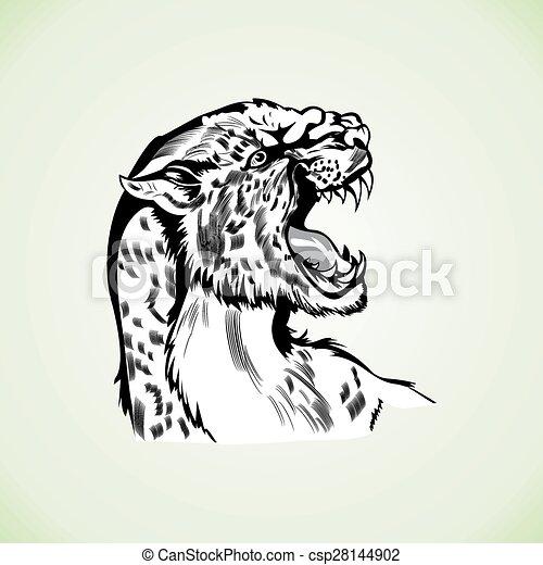 Tatuaje, cabeza, figura, pantera, tigre, agresivo, dibujo, wildcat.