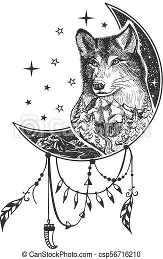 Tatuaje Camiseta Boho Vector Lobo Impresión Diseño O Tatuaje