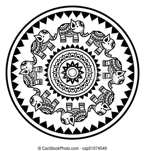 Tatuaje Estilo Elefantes Indios Formas Resumen Alhena - Mandalas-indios