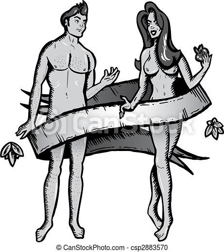 Tatuaje Estilo Eva Ilustración Vector Adán Tatuaje Vida