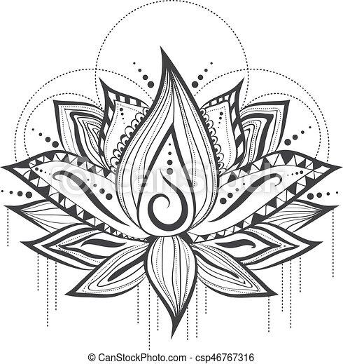 Tatuaje Flor Loto Diseño Abstracto Logotipo Tatuaje Flor Loto
