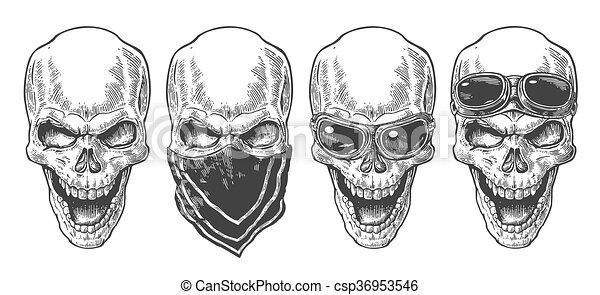 Calavera sonriendo con pañuelo y gafas para moto. Ilustración vectorial negra. Para el póster y el club de motociclistas. Diseño de diseño a mano aislado en fondo blanco. - csp36953546