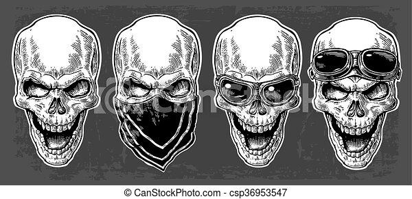 Calavera sonriendo con pañuelo y gafas para moto. Ilustración vectorial negra. Para el póster y el club de motociclistas. Diseño de diseño a mano aislado en el fondo oscuro. - csp36953547