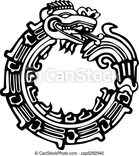 Tatuaje Maya Azteca Dragon Colored Ser Grande Maya