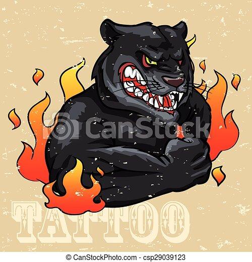 Diseño de tatuajes de pantera negra - csp29039123