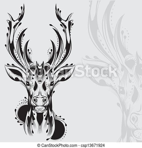 Tatuaje de cabeza de ciervo tribal - csp13671924