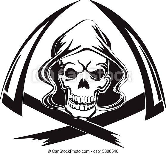 Diseño de tatuajes de una parca con guadaña, grabado vintage. - csp15808540