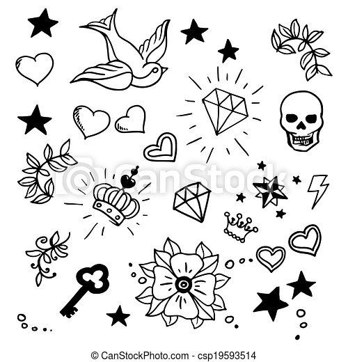 Tatuajes Escuela Conjunto Viejo Elementos Escuela Conjunto