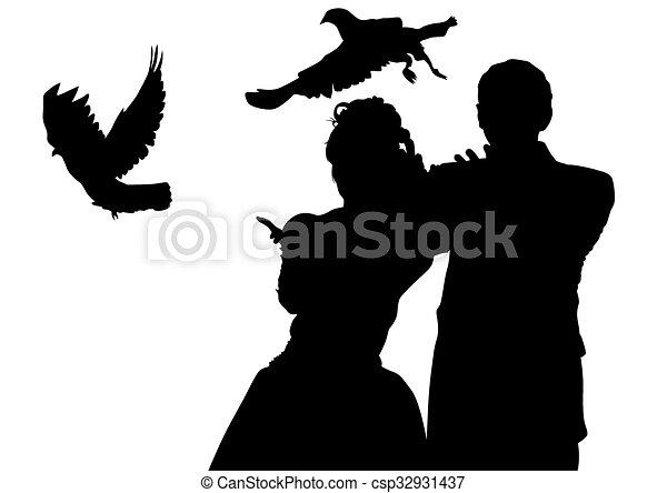 Tauben Wedding Paare Weisse Hochzeit Hintergrundleute Vektoren