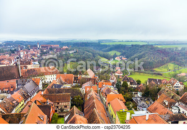 tauber, der, 航空写真, ob, rothenburg - csp23704235
