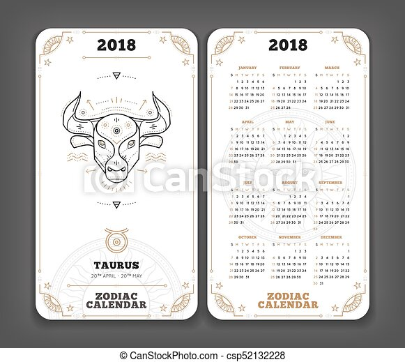 Taurus 2018 year zodiac calendar pocket size vertical layout Double side  white color design style vector concept illustration