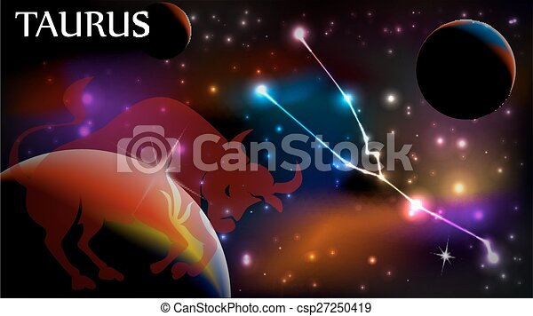 Taurus Astrological Sign and copy space - csp27250419