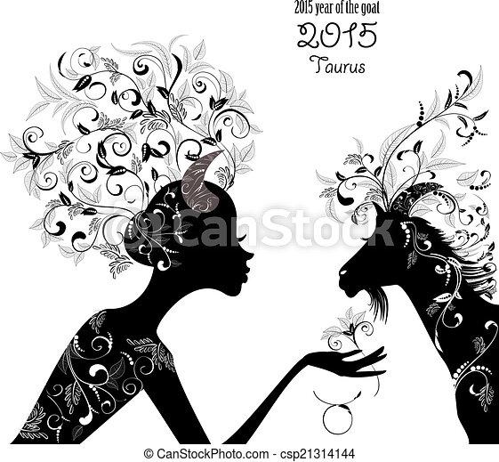 2015 años de la hermosa cabra y el tauro de signo zodiaco. Moda - csp21314144