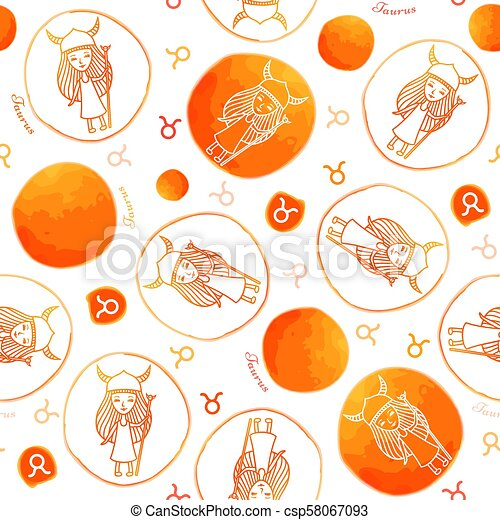 Taurus zodiac sign seamless pattern