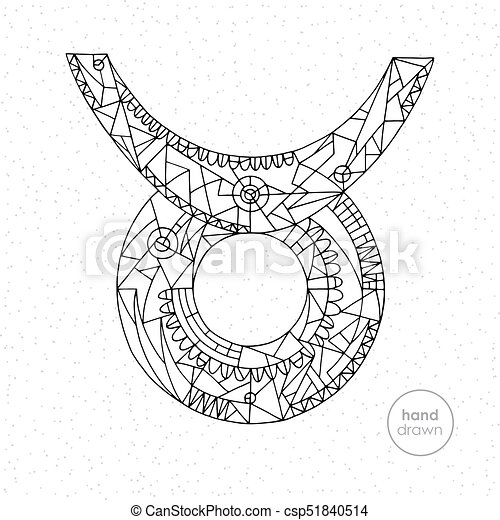 - Taurus Zodiac Sign. Vector Hand Drawn Horoscope Illustration. Astrological  Coloring Page. Taurus Zodiac Sign. Vector Hand
