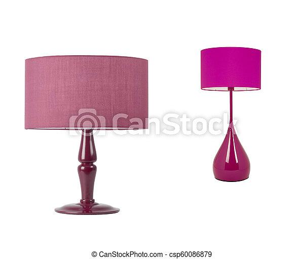tavola, bianco, lampade, isolato - csp60086879
