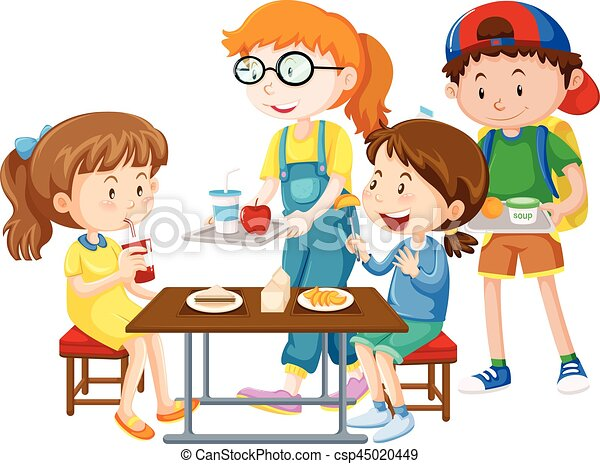 tavola, detenere, pasto, bambini - csp45020449