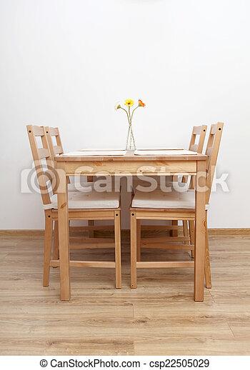 tavola, dinning, room., sedie, vuoto - csp22505029