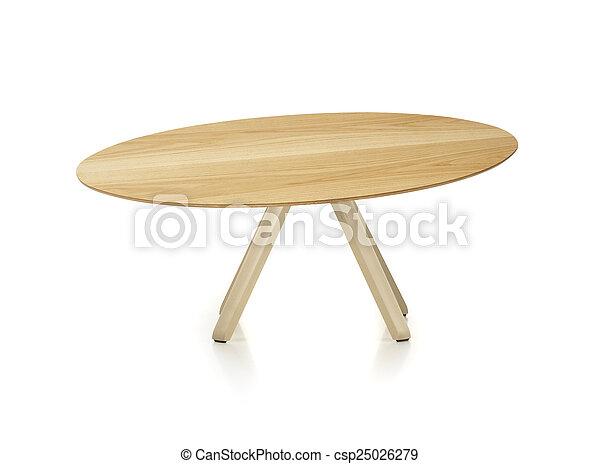tavola legno, bianco, isolato, rotondo - csp25026279