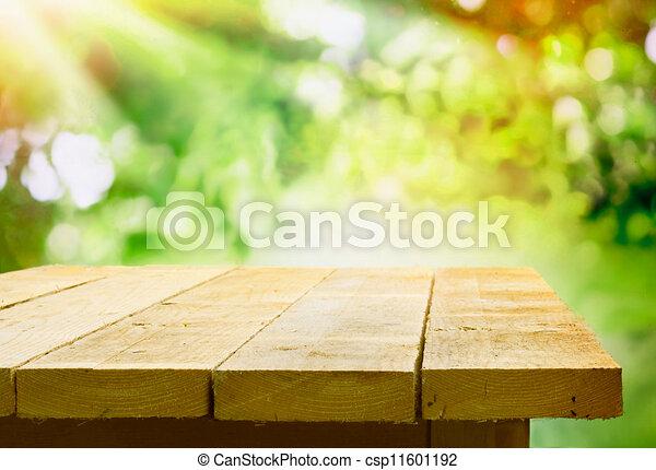 tavola legno, bokeh, giardino, vuoto - csp11601192