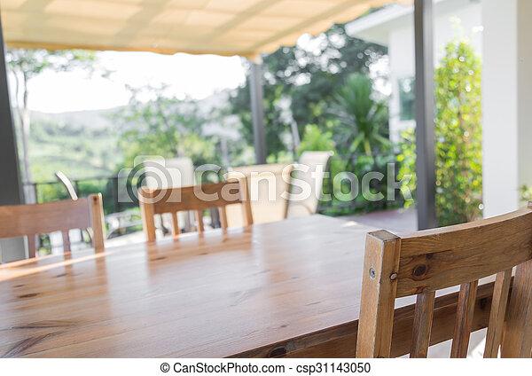 tavola, legno, ristorante - csp31143050