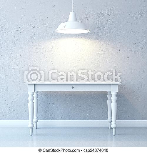 tavola, soffitto, stanza, lampada - csp24874048
