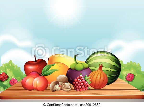 tavola, verdura, frutte fresche - csp39012652