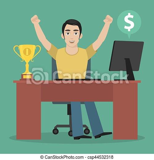 tavola, vincitore, sedere, uomo - csp44532318