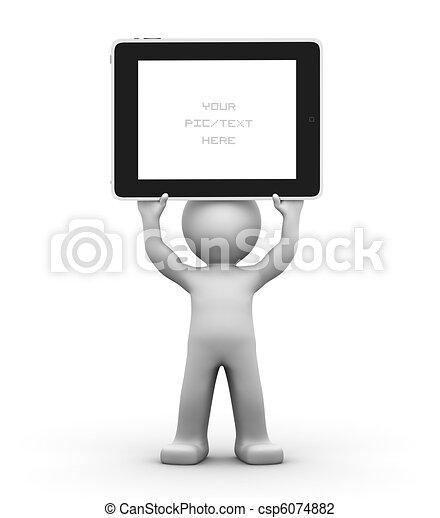 tavoletta, concept., carattere, pc., pubblicità, presa a terra, vuoto, 3d - csp6074882
