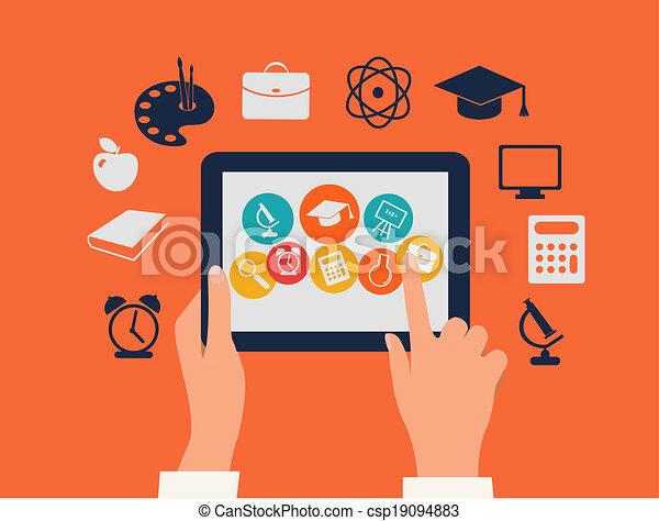 tavoletta, concept., icons., toccante, vector., mani, e-imparando, educazione - csp19094883