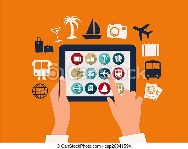 tavoletta, viaggiare, vacanza, icons., toccante, vector., mani - csp20041594