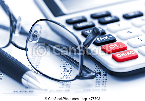 Tax calculator pen and glasses - csp1478703