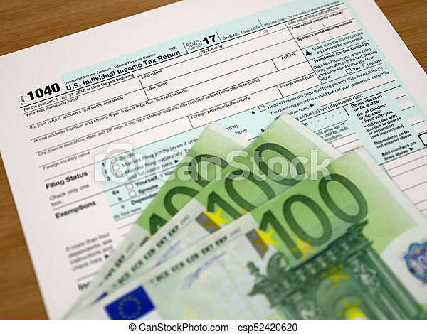Tax Form 1040 And Euros Stock Photo Search Pictures And Photo Clip