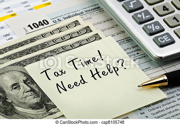 Tax forms with pen, calculator and money. - csp8105748