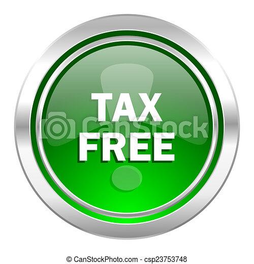 tax free icon, green button - csp23753748