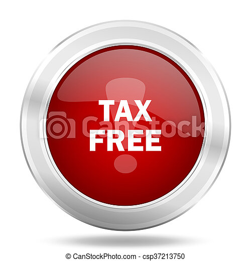 tax free icon, red round glossy metallic button, web and mobile app design illustration - csp37213750