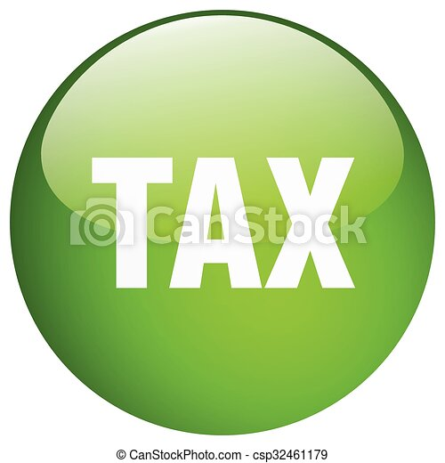 tax green round gel isolated push button - csp32461179